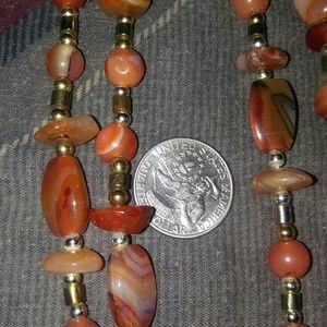 Jewelry - Handmade Fire Agate Hematite Necklace